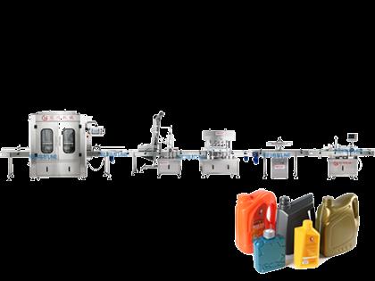 全自动灌装旋盖贴标化工生产线
